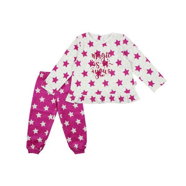 Pijama-KIDS-Niña-Plush-Stars-Gris